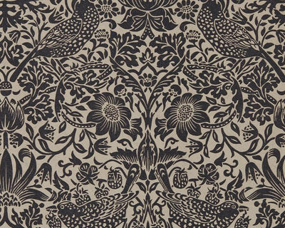 Morris & Co Strawberry Thief Gilver/Graphite 216018 Wallpaper