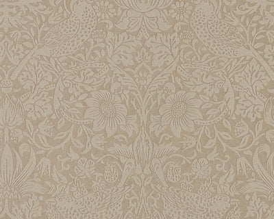 Morris & Co Strawberry Thief Taupe/Gilver 216019 Wallpaper