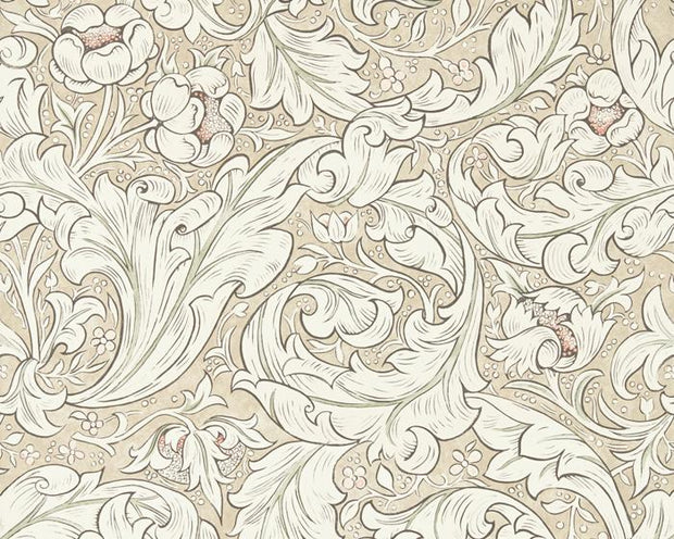 Morris & Co Bachelors Button Linen/Coral 216051 Wallpaper