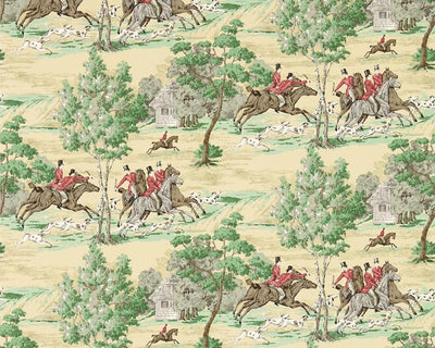 Sanderson Tally Ho Evergreen/Crimson 214598 Wallpaper