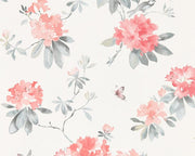 Sanderson Rhodera Coral/Grey 216264 Wallpaper