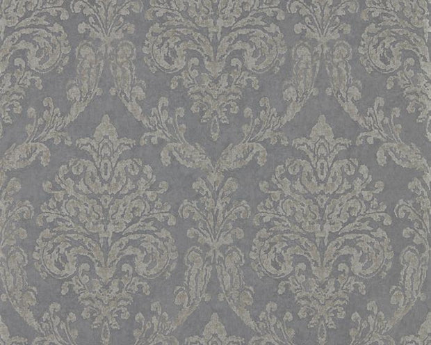 Sanderson Riverside Damask Steel/Silver 216291 Wallpaper