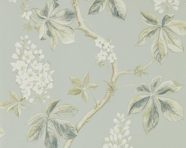 Sanderson Chestnut Tree Grey Blue/Sage 215708 Wallpaper