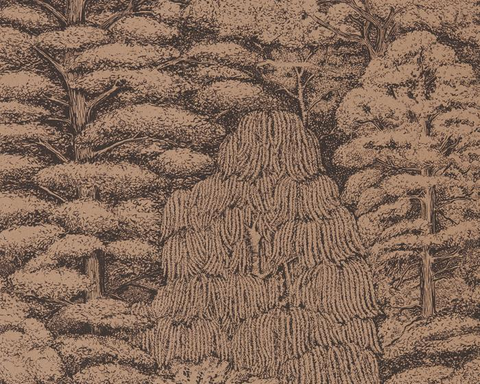 Sanderson Woodland Toile Copper/Charcoal 215719 Wallpaper