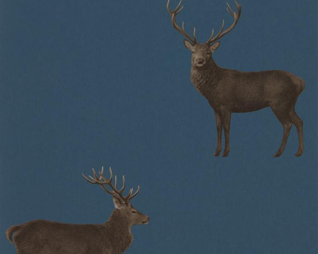 Sanderson Wallpapers Evesham Deer Indigo 216620 Wallpaper