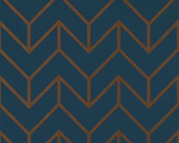 Harlequin Tessellation Marine/Copper 111986 Wallpaper