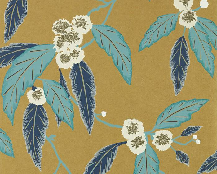 Harlequin Coppice Navy/Lagoon/Gold 112133 Wallpaper