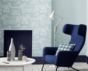 Little Greene Hampstead Mid Blue 0290HAMIDBL Wallpaper
