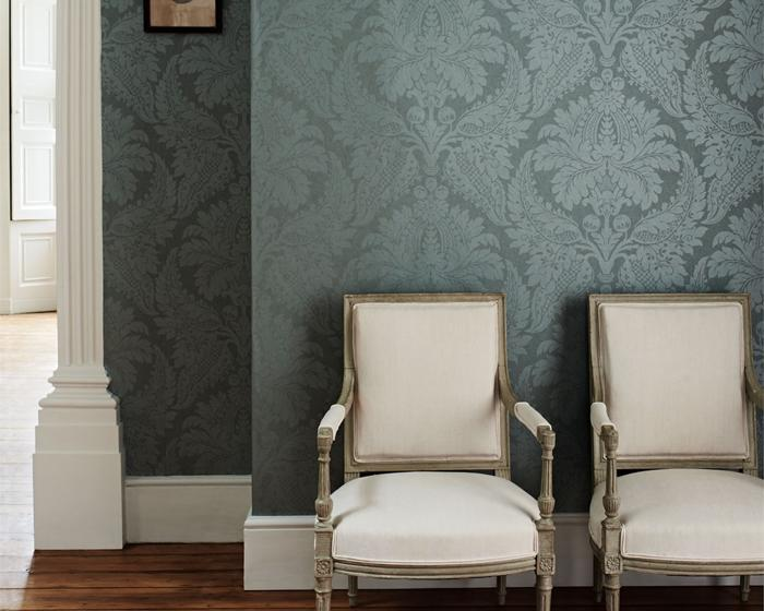 Zoffany Malmaison Damask Teal 311998 Wallpaper