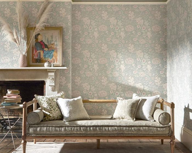 Morris & Co Double Bough Teal Rose 216680 Wallpaper