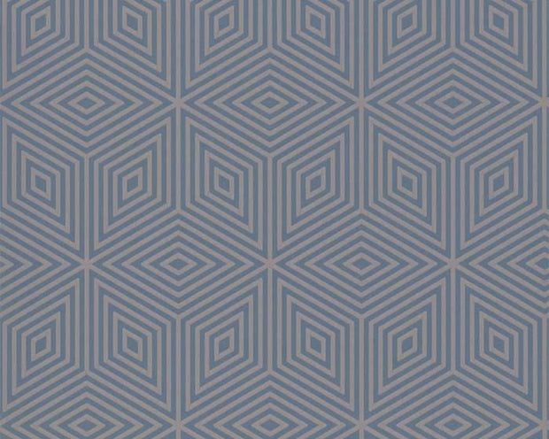 Paint & Paper Library Marquetry Tile Blue Blood Wallpaper