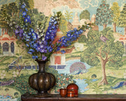 Zoffany Peacock Garden Linen/Silver 311742 Wallpaper