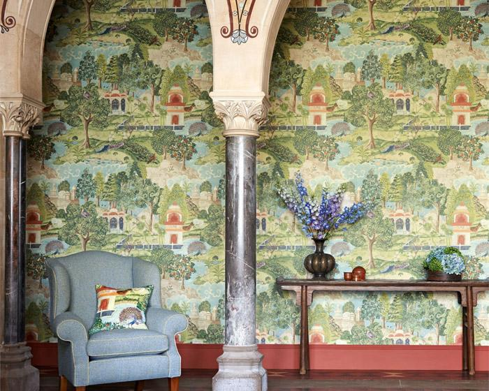 Zoffany Peacock Garden Green/Coral 311743 Wallpaper