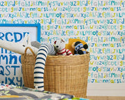 Scion Letters Play Slate/Biscuit/Maize 111280 Wallpaper