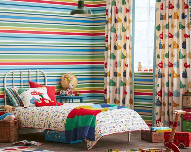 Scion Jelly Tot Stripe Poppy/Pistachio/Tangerine 111264 Wallpaper