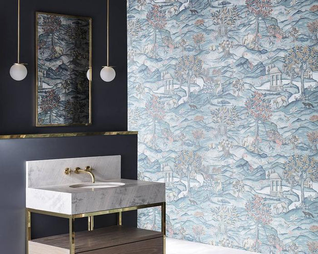 Zoffany Stand Wood Teal/Velvet Blue 312855 Wallpaper