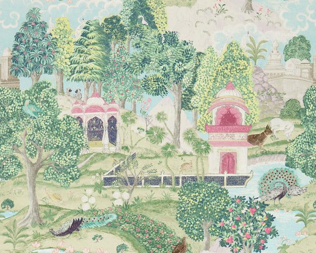 Zoffany Peacock Garden Moss/Pink 311748 Wallpaper