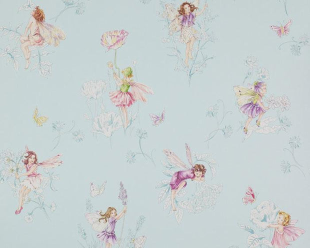 Jane Churchill Meadow Flower Fairies Aqua J124W-03 Wallpaper