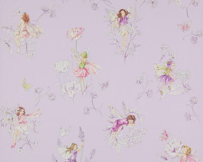Jane Churchill Meadow Flower Fairies Lilac J124W-04 Wallpaper