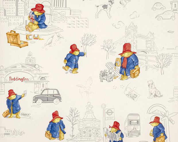 Jane Churchill London Paddington Red/Blue J125W-01 Wallpaper