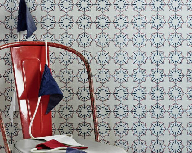 Barneby Gates Anchor Tile in Red/White/Blue Wallpaper BG1000101