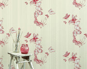 Barneby Gates Bugs & Butterflies in Raspberry Wallpaper BG0100301
