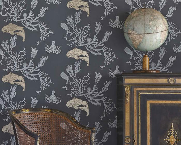 Barneby Gates Coral in Charcoal/Gold Wallpaper BG0900201
