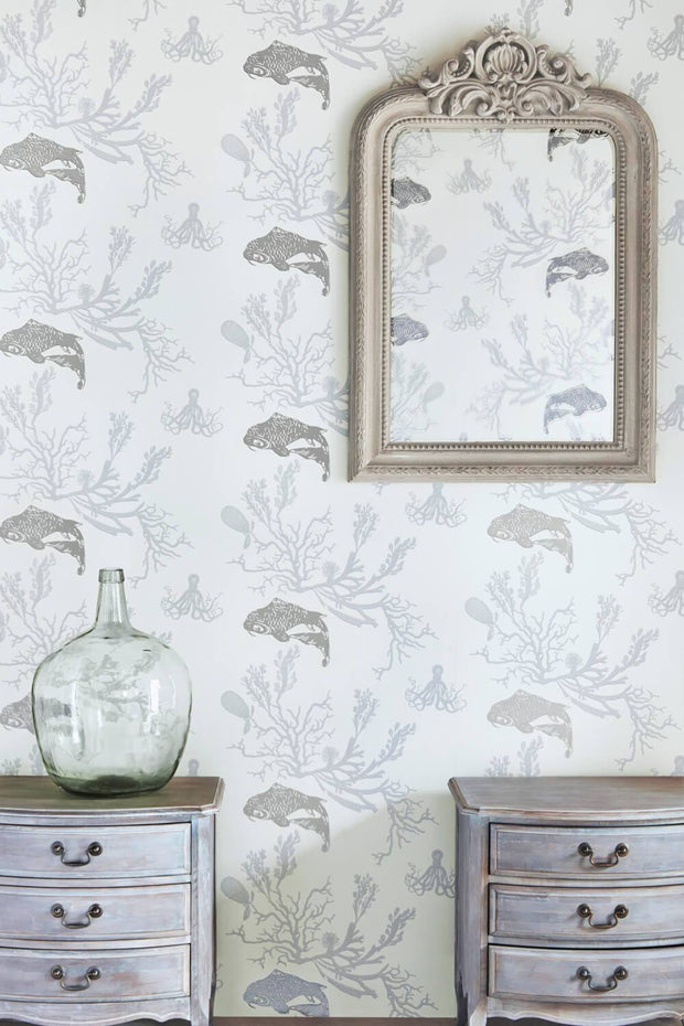 Barneby Gates Coral in Pale Grey/Silver Wallpaper BG0900202