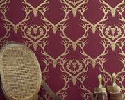 Barneby Gates Deer Damask in Claret/Gold Wallpaper BG0100402