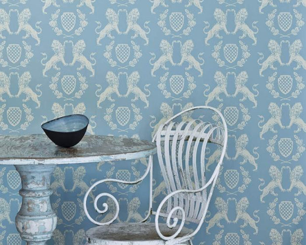 Barneby Gates Heraldic Lion in Wedgwood Blue Wallpaper BG1100101