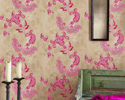 Barneby Gates Paisley in Hot Pink On Tea Stain Wallpaper BG0700201