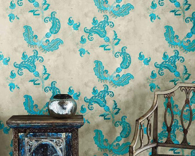 Barneby Gates Paisley in Turquoise On Old Grey Wallpaper BG0700201