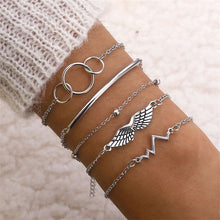 Load image into Gallery viewer, 4 Pcs/set Women's Fashion Crystal Leaves Geometric Chain