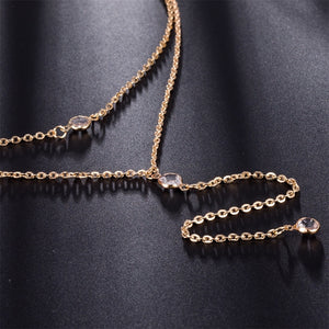 Multilayer Long Tassel Chain Necklace Sexy Body Jewelry Crystal Pendant Nec