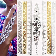 Load image into Gallery viewer, Festival Temporary Tattoo. Feathers Gold Jewellery