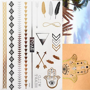 Festival Temporary Tattoo. Feathers Gold Jewellery