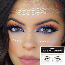 Load image into Gallery viewer, Gold Face Tattoo .. Eye Decals Bride Tribe Girl Party