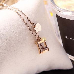 Titanium Hourglass Love necklace