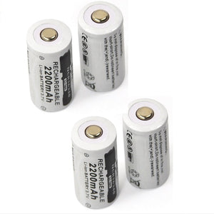 4PCS 3.7V 2200mAh 16340 CR123A Rechargeable Li-ion Battery + 1PCS 2-slot Travel Battery Charger