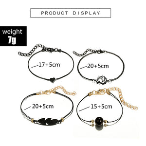 Fashion Bohemia Leaf Knot Hand Cuff Chain Lotus Ball Leaves Bracelet 4pcs/Set