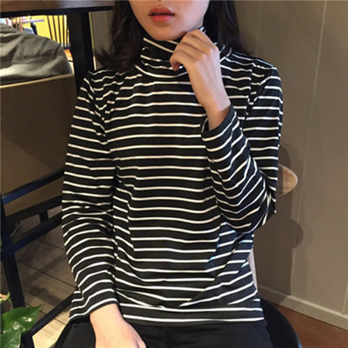 T-Shirts Woman 2019 Spring Striped Turtleneck Long Sleeve
