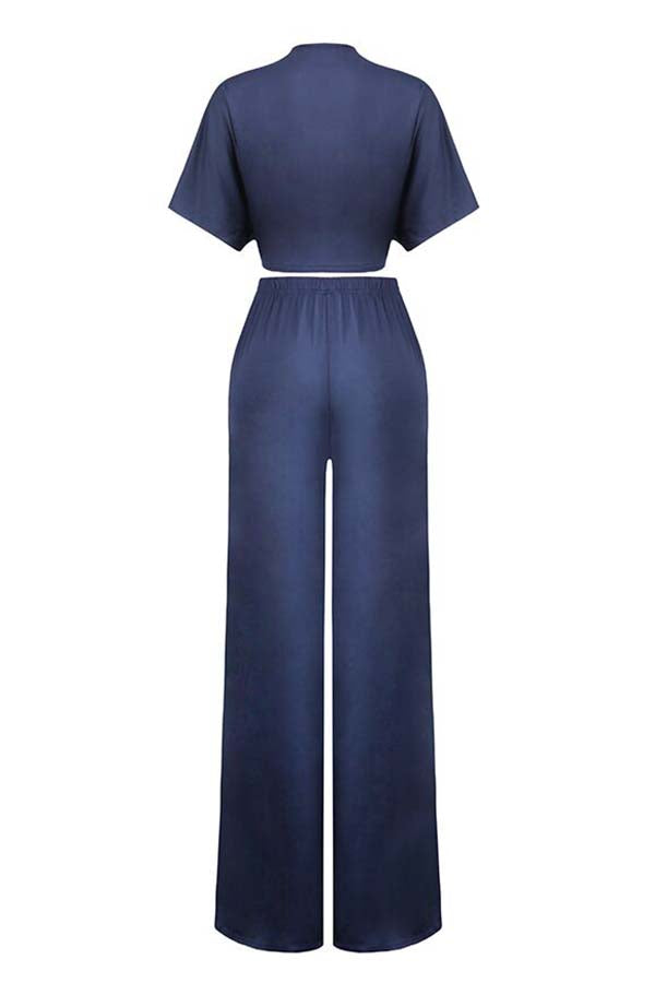 Pluum006672 Deep V Neck Loose Dark Blue Two-piece Pants Set