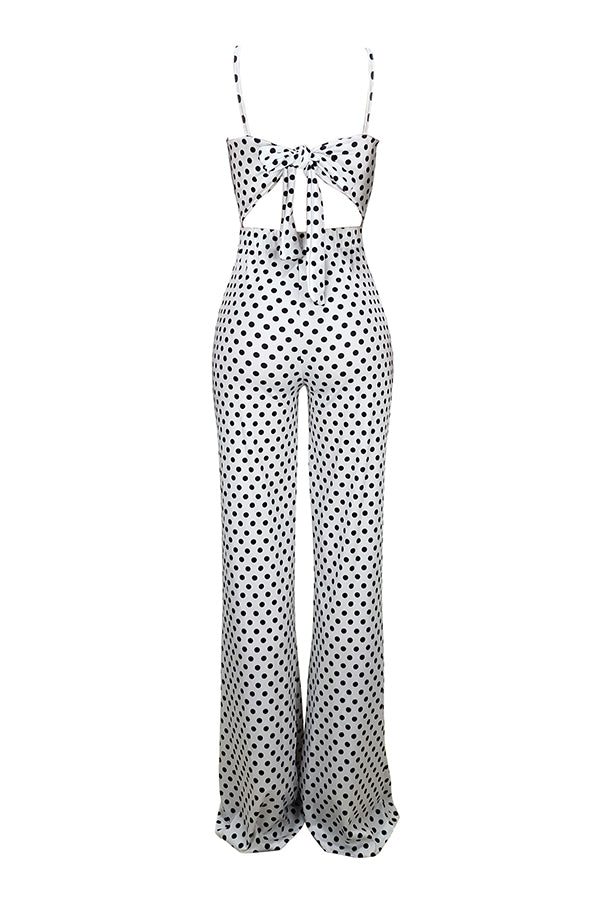 Pluum006603 Dots Printed White One-piece Jumpsuit