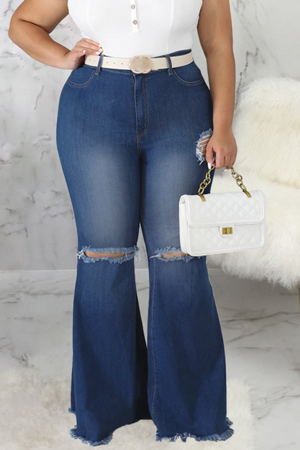 Pluum006670 Trendy Broken Holes Blue Plus Size Jeans