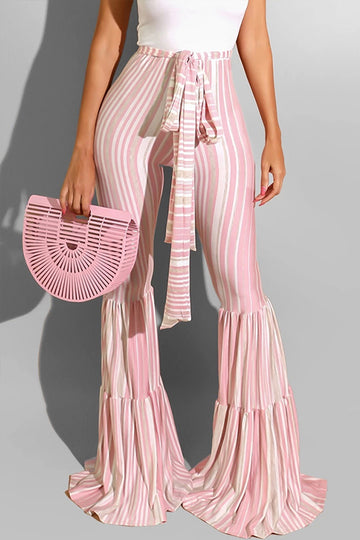 Pluum006659 Striped Print Light Pink Pants