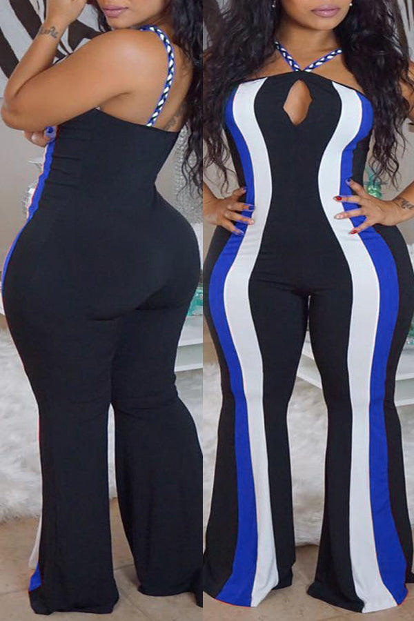 Pluum006689 Striped Blue Plus Size One-piece Jumpsuit