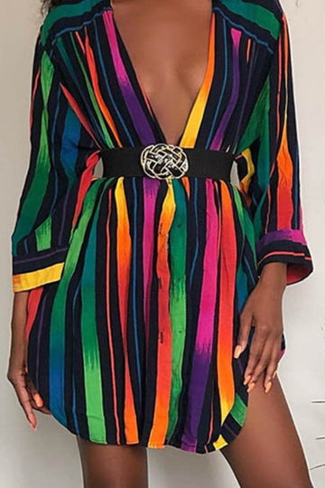 Pluum006610 Rainbow Striped Multicolor Mini Dress