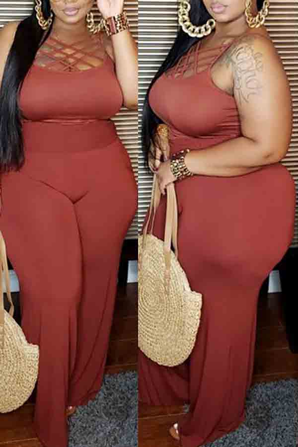 Pluum006688 Hollow-out Purple Plus Size One-piece Jumpsuit