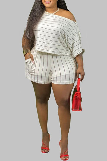 Pluum006694 Striped Plus Size Two-piece Shorts Set