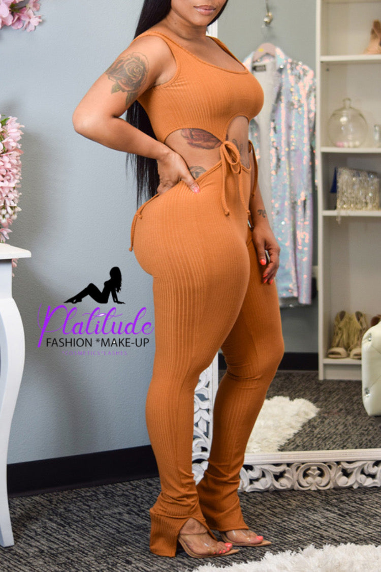 Pluum006636 Sexy Lace-up Browm One-piece Jumpsuit